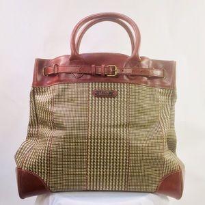 Vtg Polo Ralph Lauren Plaid Travel Carry-On Bag